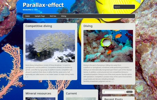 Parallax effect WP theme