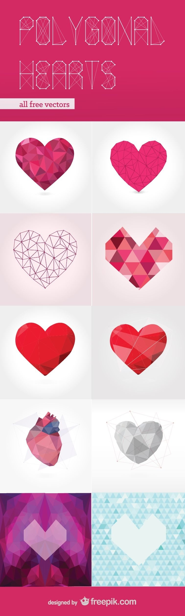 Free Vector Pack: Polygonal Hearts