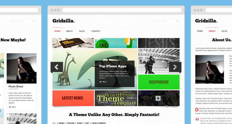 Gridzilla Includes 5 page modern clean web template psd free
