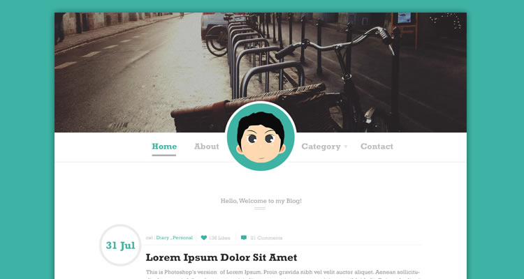 Simple Blog Template modern clean web template psd free
