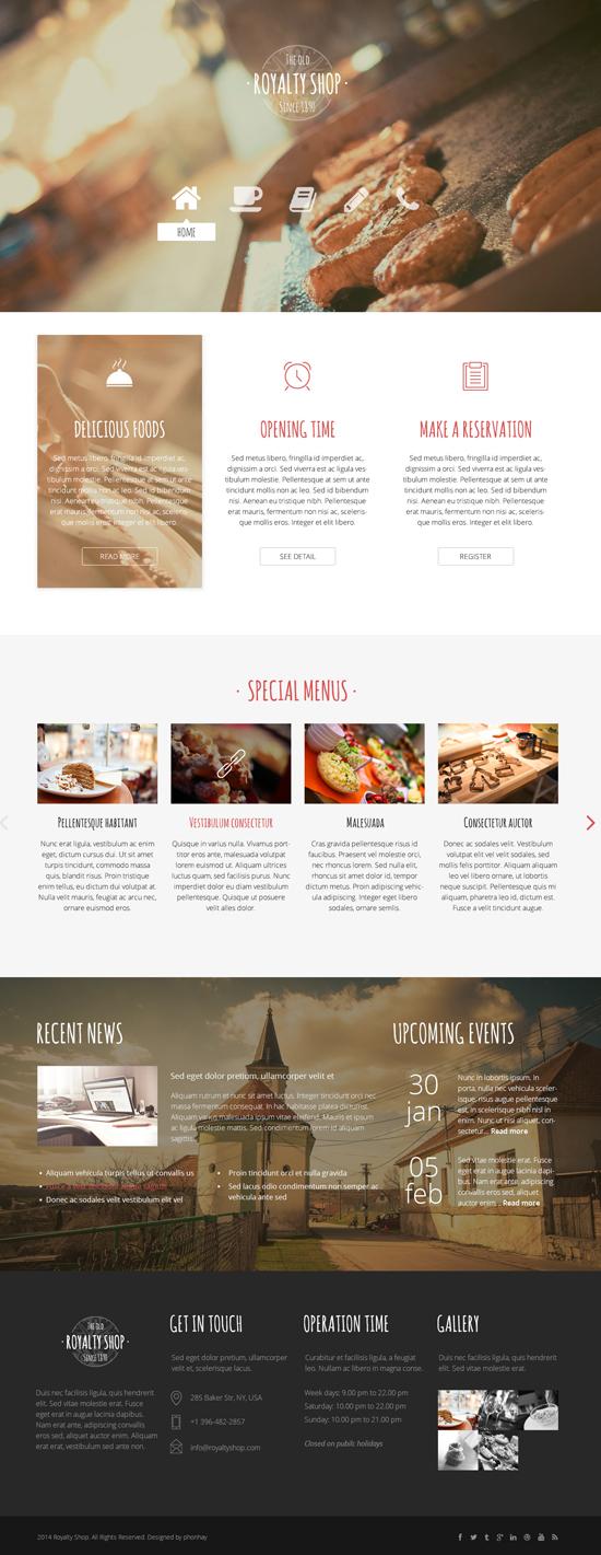 Royalty Shop - Restaurant PSD Template