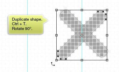 Duplicate shape and rotate it 90°