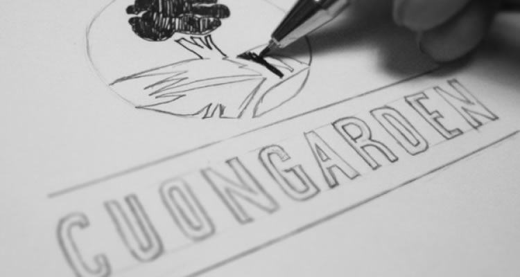 Cuongarden logo design sketch process branding