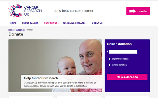 Cancer Research Charity Donate Webpage