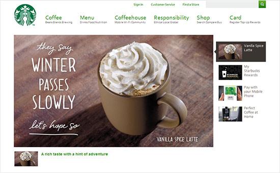Engaging Website Inspiration - Starbucks