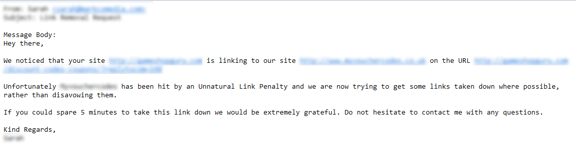 unnatural link warning email example