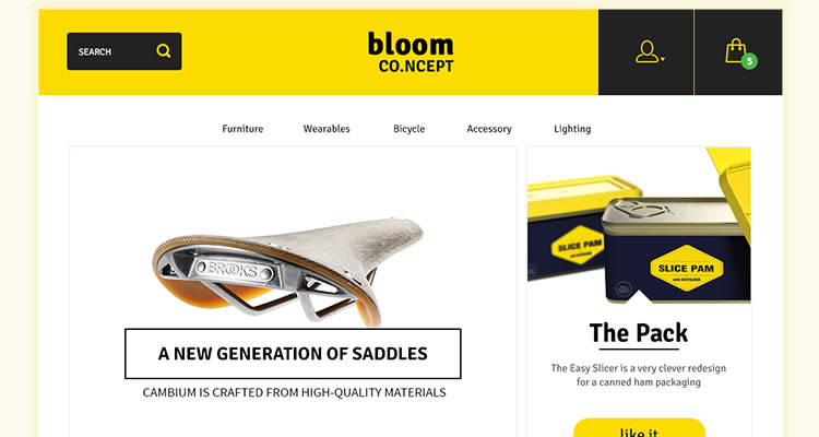 Bloom E-Commerce Concept modern clean web template psd free