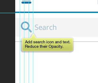 search icon and text