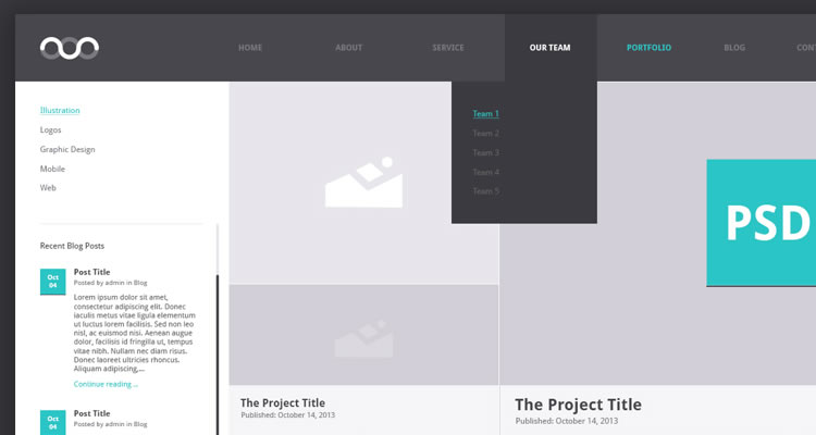 Portfolio Archive modern clean web template psd free