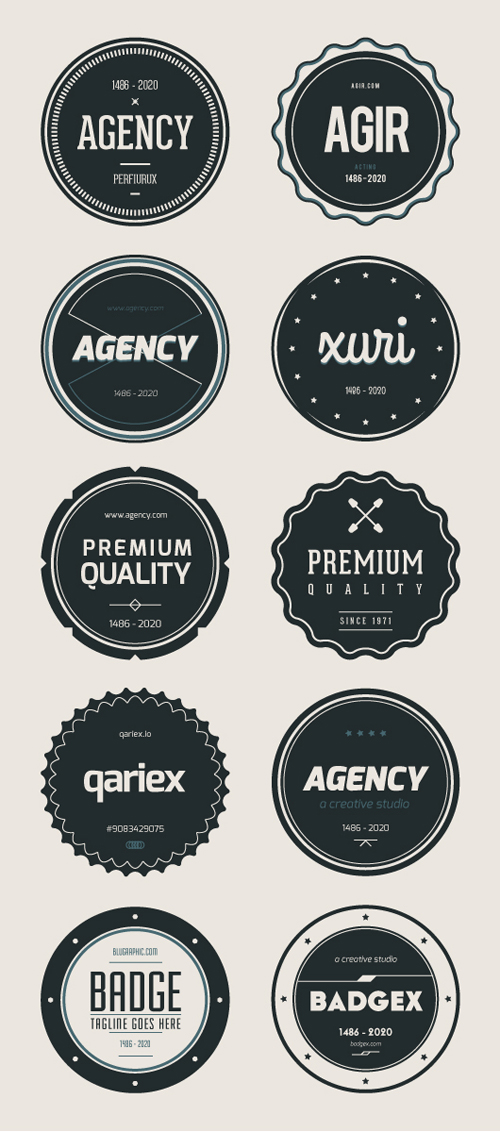 Flat Badges (Ai, Eps)