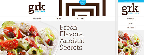The website for Greek restaurant Grk was built with Bootstrap.