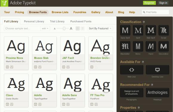 typekit fonts typography tools