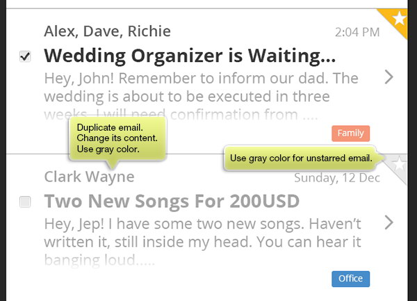 duplicate email and change its color