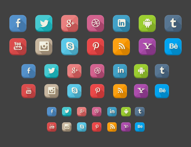 42 Long Shadow Social Icons