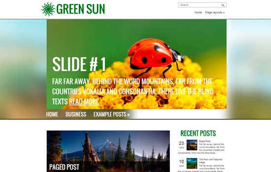 Greensun WP theme
