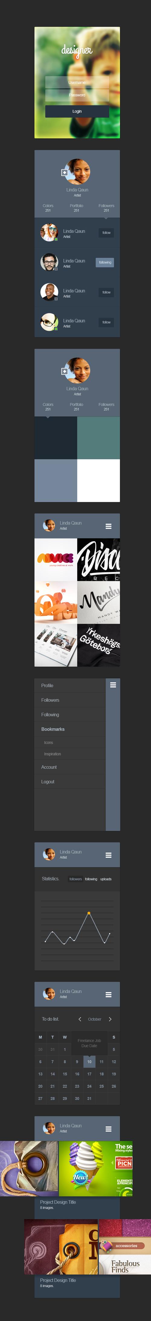 Portfolio App Ui Kit (psd)
