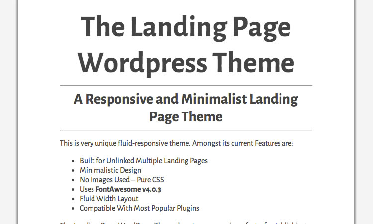 Landing page new  responsive free WordPress themes The Landing Page