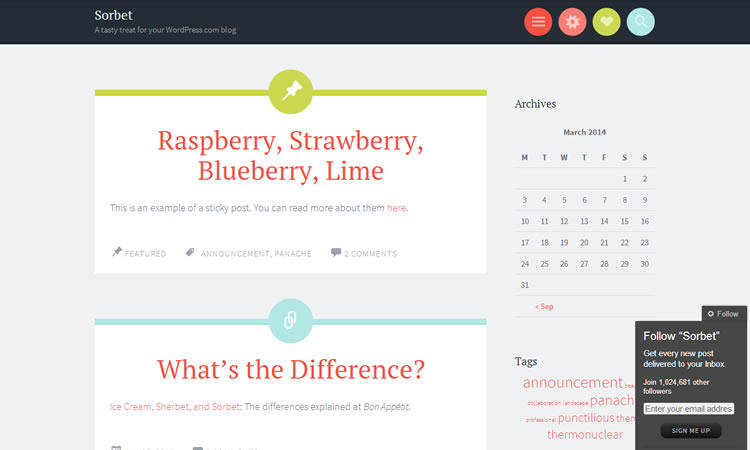 Blogging new free responsive WordPress themes Sorbet