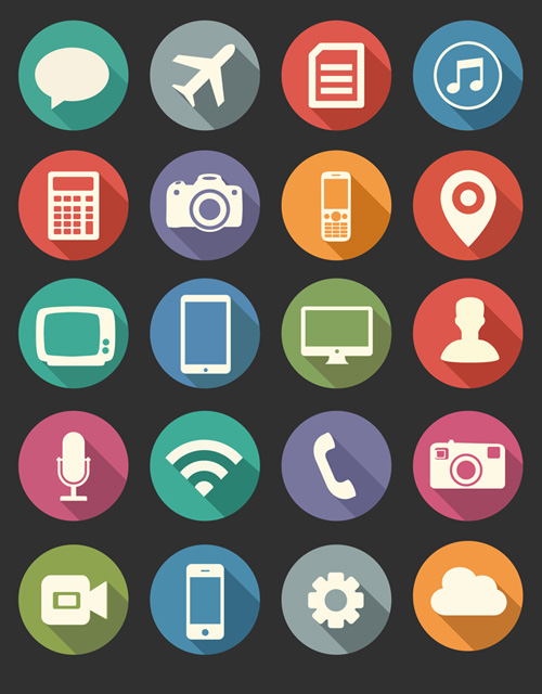Free Flat Long Shadow Media Icons