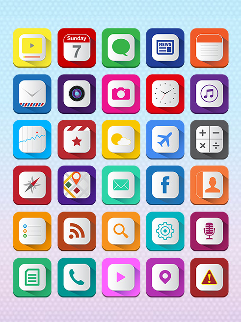 Free Long Shadow iOS7 Icons