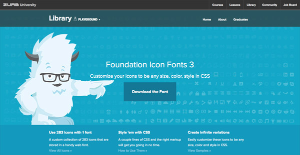 Foundation Icon Fonts 3 (280+ icons)