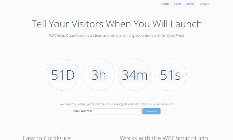 Coming soon new free responsive WordPress themes WPChimp Countdown