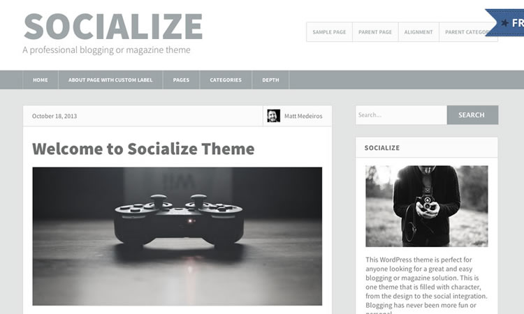 Blogging new  responsive free WordPress themes Socialize Lite