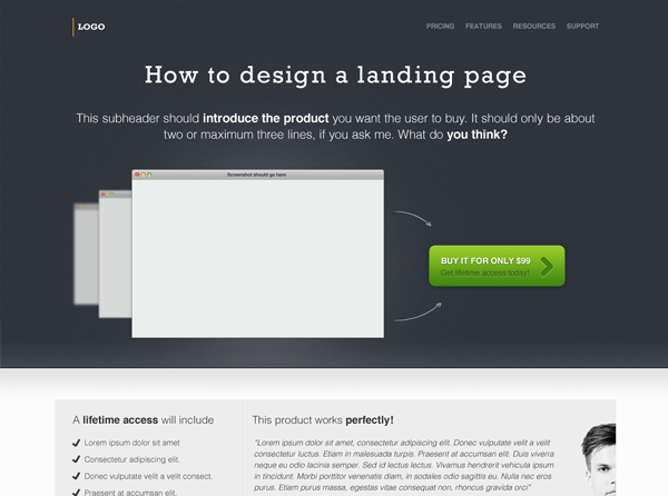 A free landing page design