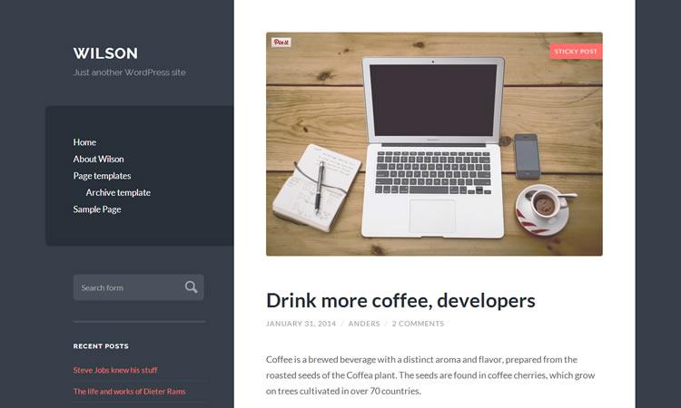 new free responsive WordPress themes Wilson blogging