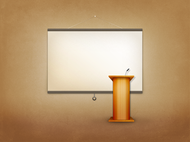 Podium with projector screen Pixel Perfect Photoshop