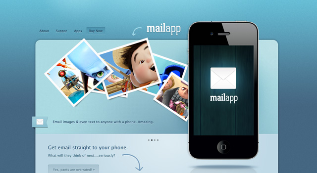 MailApp free high quality website photoshop templates