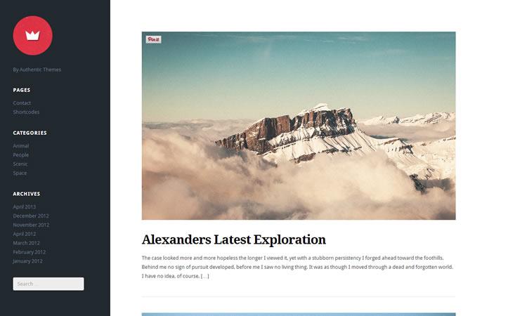 Left-aligned new free responsive WordPress themes Lefty