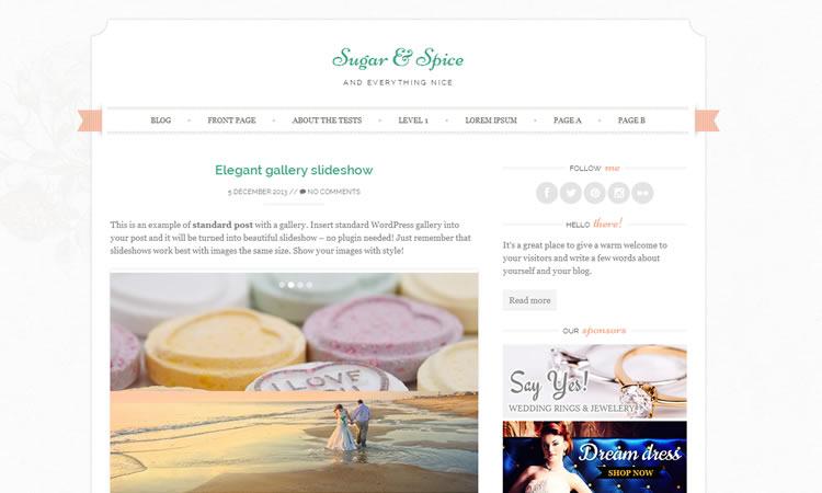 new free Feminine blogging wordpress theme Sugar and Spice