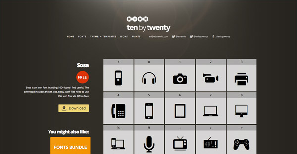 Sosa icon font (160+ icons)