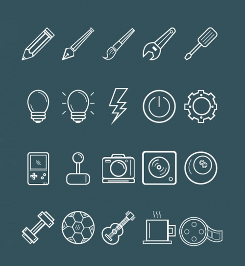 Free Scaleable and Editable OutLine Art Icons