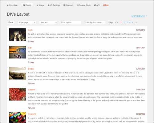jQuery jPList free pagination plugin