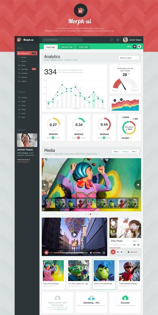 Morph-UI – Free UI Kit, Flat Design