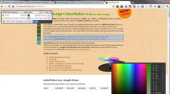 colorpicker chrome addon design