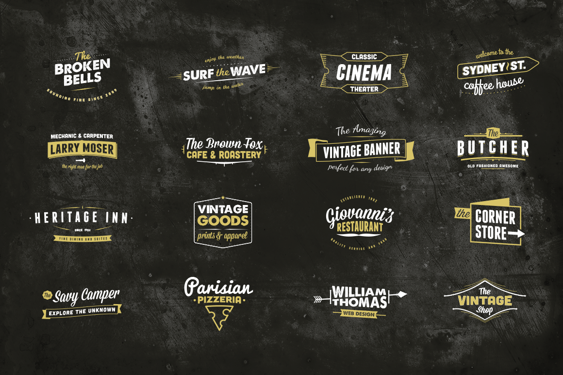preview four o1 13 Vintage Logo Bundles for Your Designs