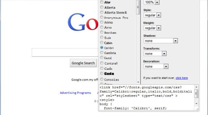 google font preview addon google chrome
