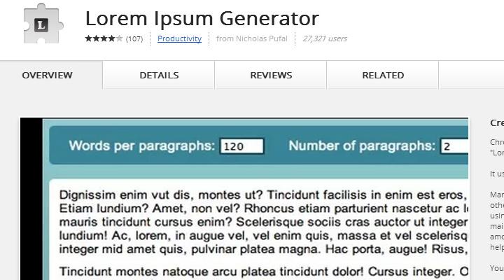 lorem ipsum generator extension chrome