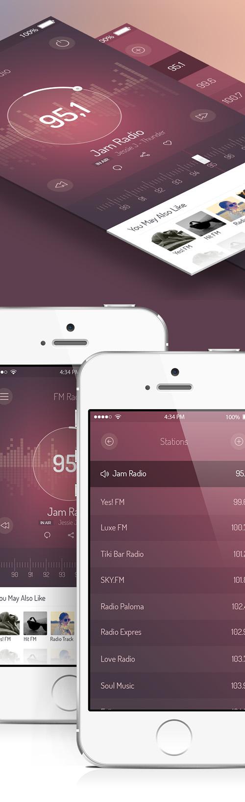 FM Radio UI - iOS 7 App