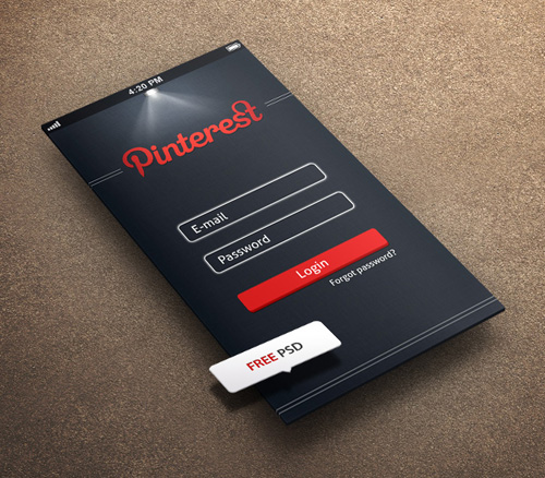 Pintrest Login App Screen PSD