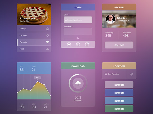 Transparent UI kit – Free PSD