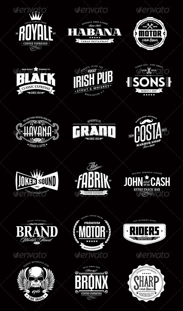 18 badges logos bundle 13 vintage logo bundles for your designs