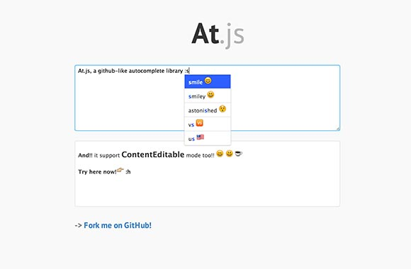 At.js – Autocomplete library