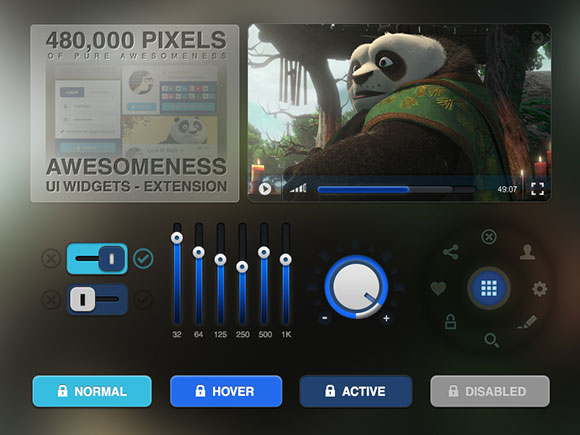 Awesomeness UI Widgets PSD