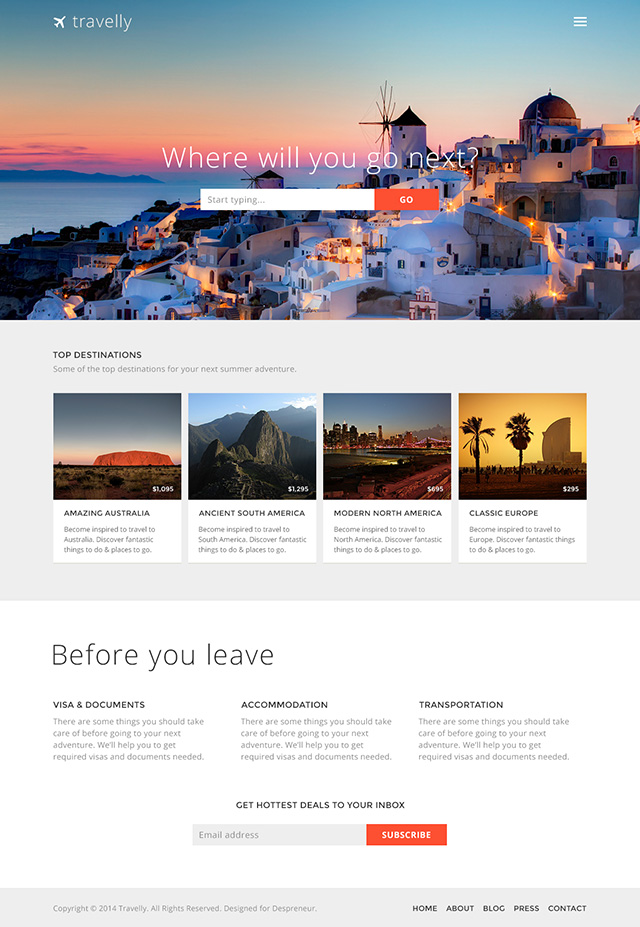 Travelly - Free Travel Website PSD Template