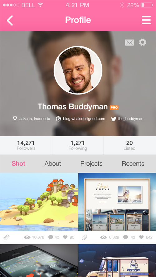 Dribbble Mobile App Screens