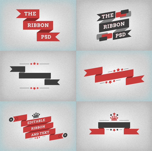 Flat Ribbons PSD